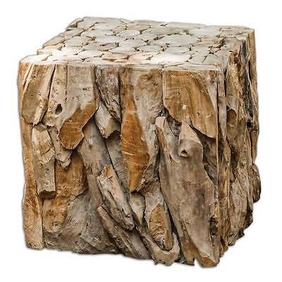 Luxe DRIFTWOOD Rustic BUNCHING CUBE Side Table Sculpture Teak Wood Cottage