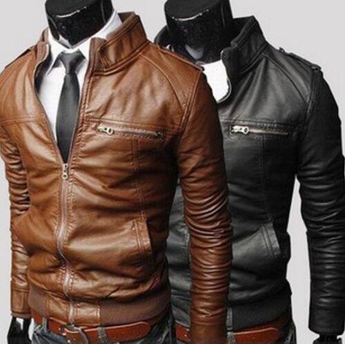 New Men/'s Slim Fit Zipper Designed PU Leather Jacket Coat *5 sizes* Free Post*