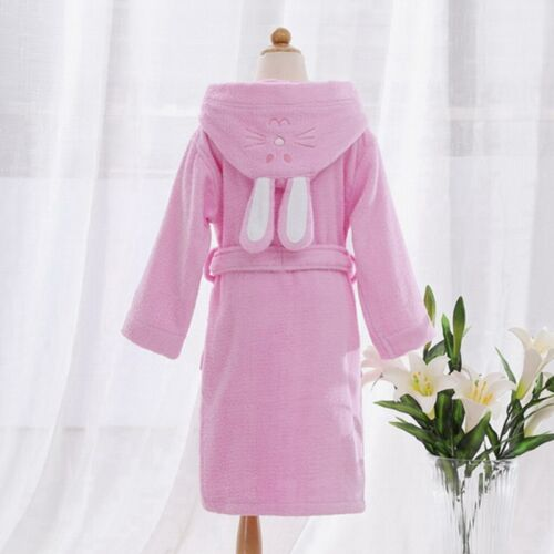 New Girls Bath Robe Cute Rabbit Ear Hooded Children Sleepwear Absorbent Homewear