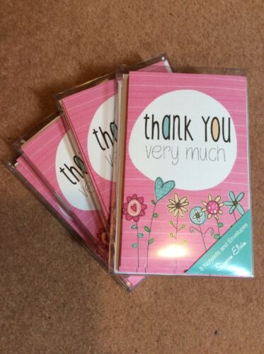 PRETTY FLOWER THANK YOU BLANK CARDS BLANK INSIDE PACK OF EIGHT 8 WITH ENVS