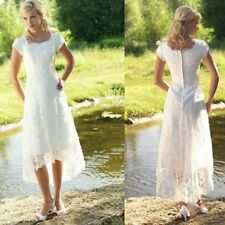 Hi-Lo Modest White Ivory Lace Wedding Dress Bridal Gown Custom Size 4 6 8 10 12+