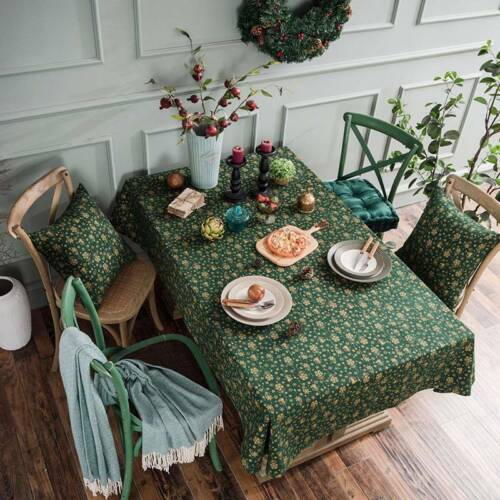 Christmas Tree Pattern Cotton Linen Green Table Cloth Cover Festival Decor ONE