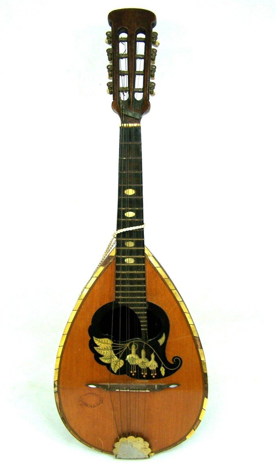 Alte MARCELLI Mandoline Rundbauch-Zupfinstrument um 1920 30 Holz Blaumen-Motiv