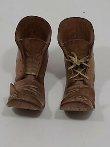 VTG Americana Tramp/Folk Art - 1 PAIR  Hand Carved (Wood?)  Boots - RARE!