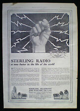 STERLING RADIO TELEPHONE AND ELECTRIC COMPANY LTD MAGAZINE ADVERT 1924