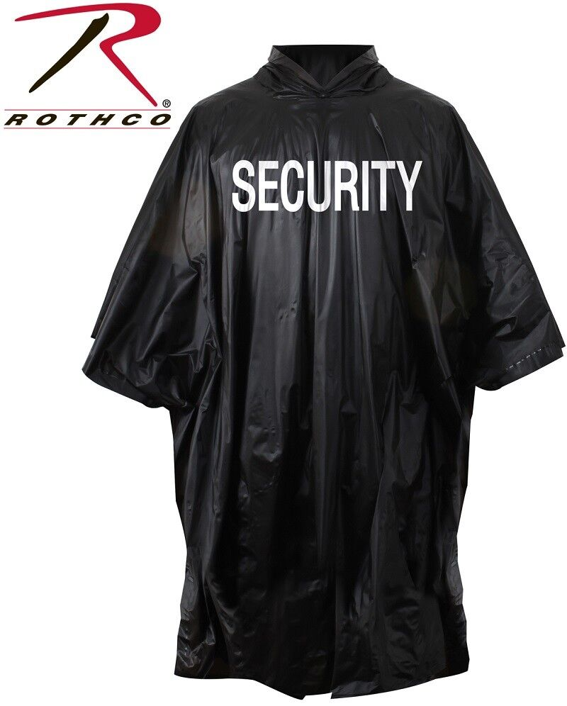 88490ea98 Black Waterproof Security Poncho Vinyl Hooded 3687 Rothco for sale ...