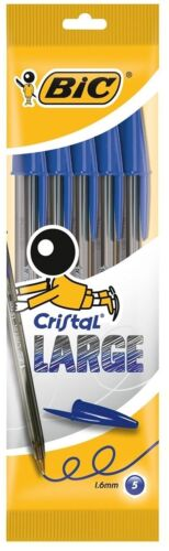 PACK OF 5 PENS BIC CRISTAL LARGE BALL POINT BLUE COLOR PEN WIDE POINT 1.6mm