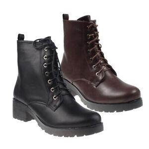 5009-Damen-Stiefel-Stiefelette-Schnurschuhe-Reisverschlus-Lederlook-Ankle-Boots