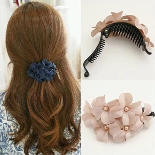 Women's Crystal Flower Rhinestone Hair Pins Hairpin Clip Barrette Lovely Girl AU