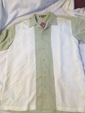 NWT Harriton Men's Two-Tone Charlie Sheen Style Camp Shirt Size XL Green