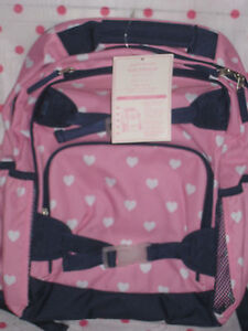 New Pottery Barn Kids Large Navy Pink Heart Backpack