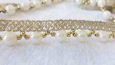 1.5cm - 1 metros Con Cuentas De Oro Hermosa Y Perlas Decoración de Encaje de Corte para Manualidades Hágalo usted mismo