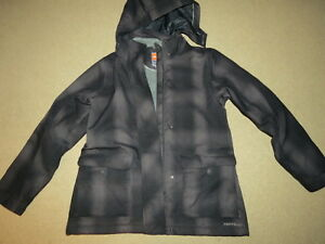 gray plaid winter coat w