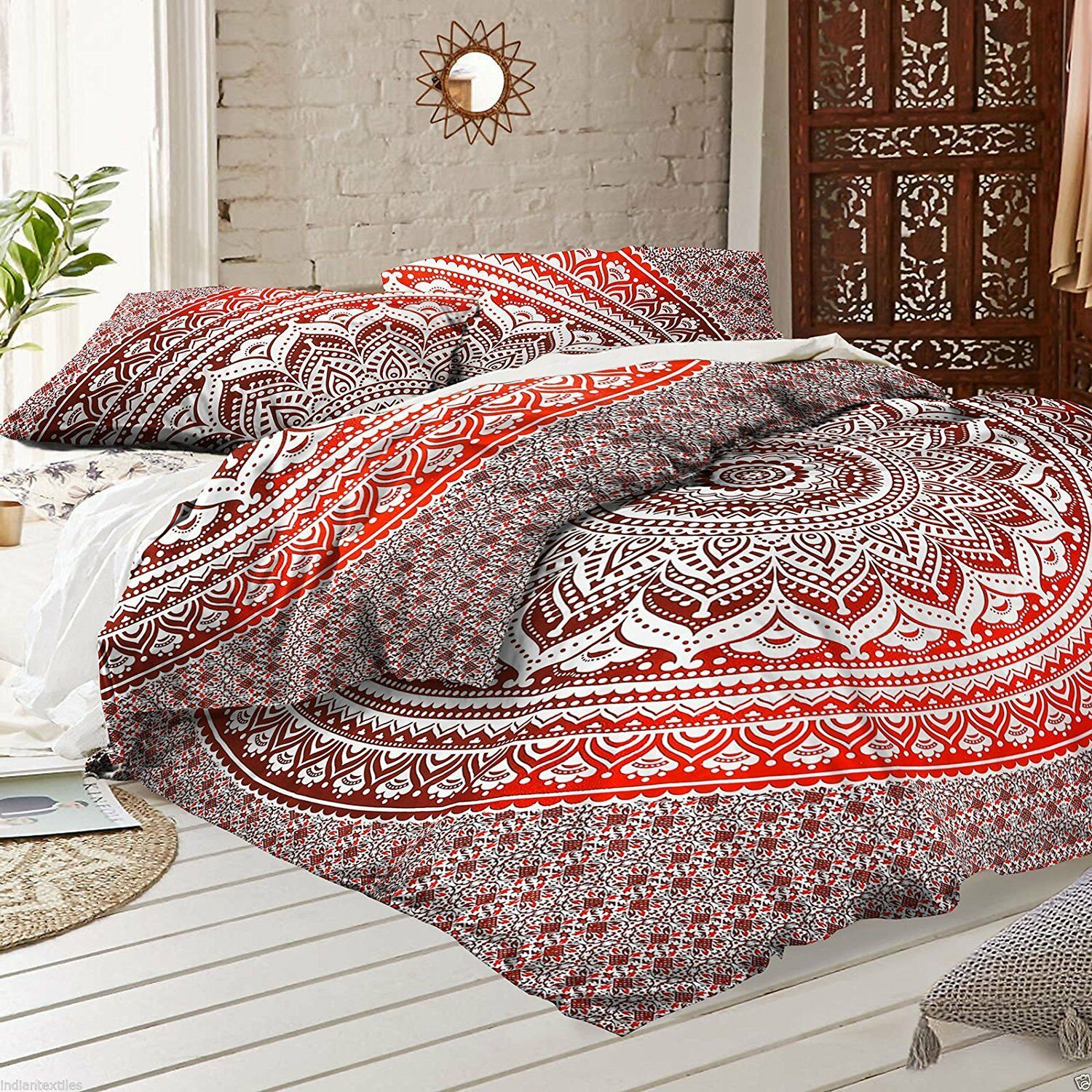 Indian Art Red Pink Ombre Mandala Duvet Cover Pillowcases Indian women Cover Set