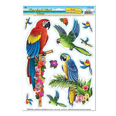 Rainforest TROPICAL BIRD Parrot CLINGS  Party Decorations LUAU Amazon JUNGLE