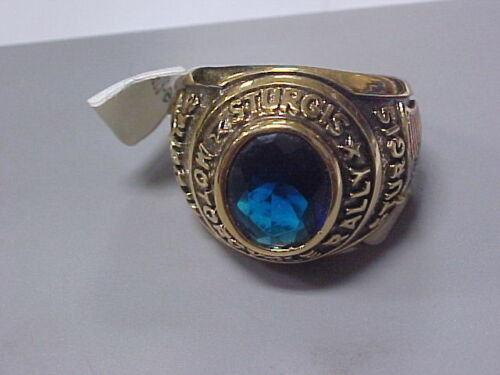 NEW 2004 Sturgis Motorcycle Rally Gold Ring Womens Size 9 Blue Stone