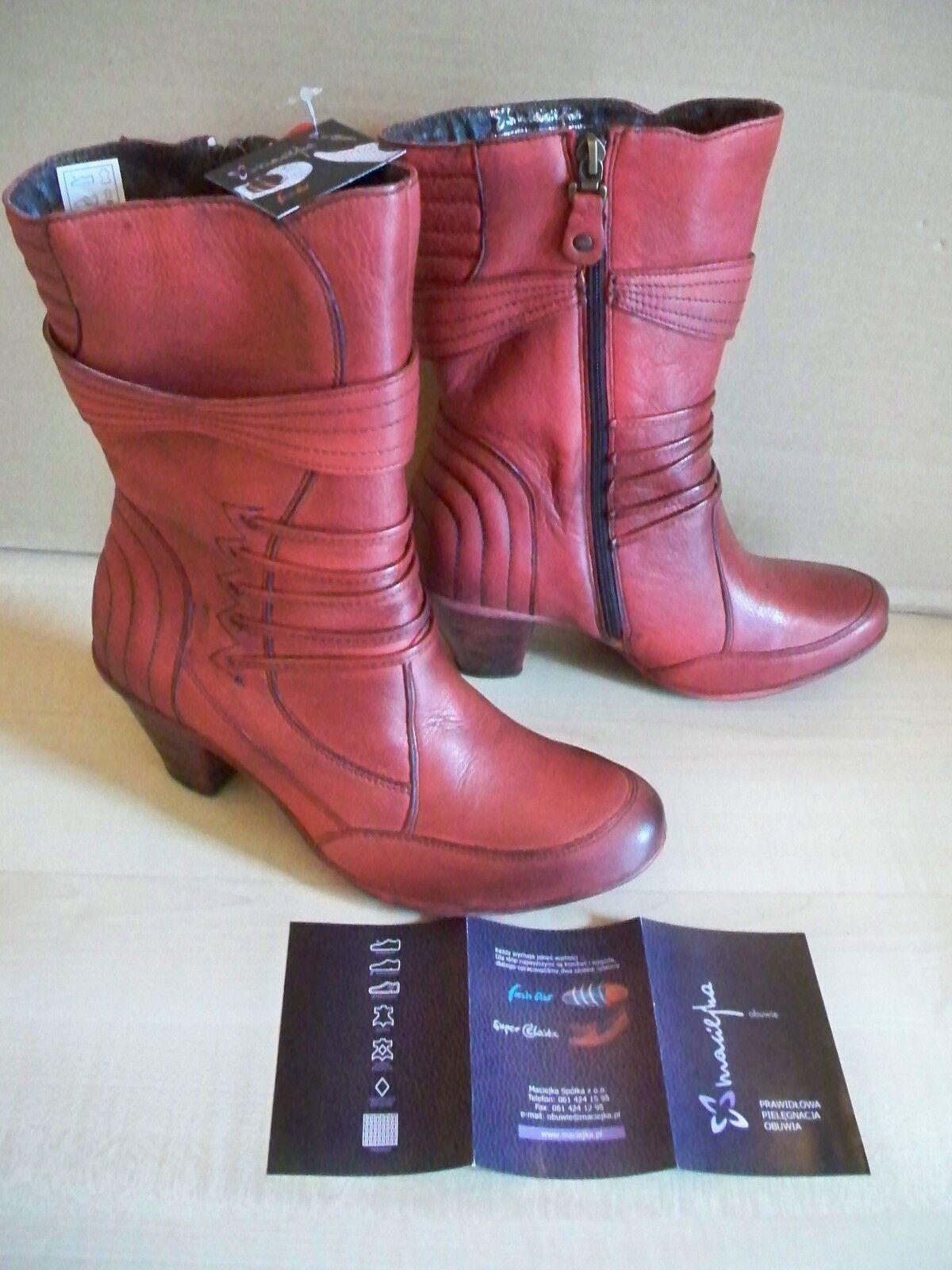 Leder Schuhe Stiefeletten Gr 37 mit Ersatzabsätzen Maciejka
