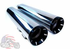 "Chrome Black Pro 4.5"" Slip-on Mufflers Exhaust Pipes Harley Touring Bagger FLH"