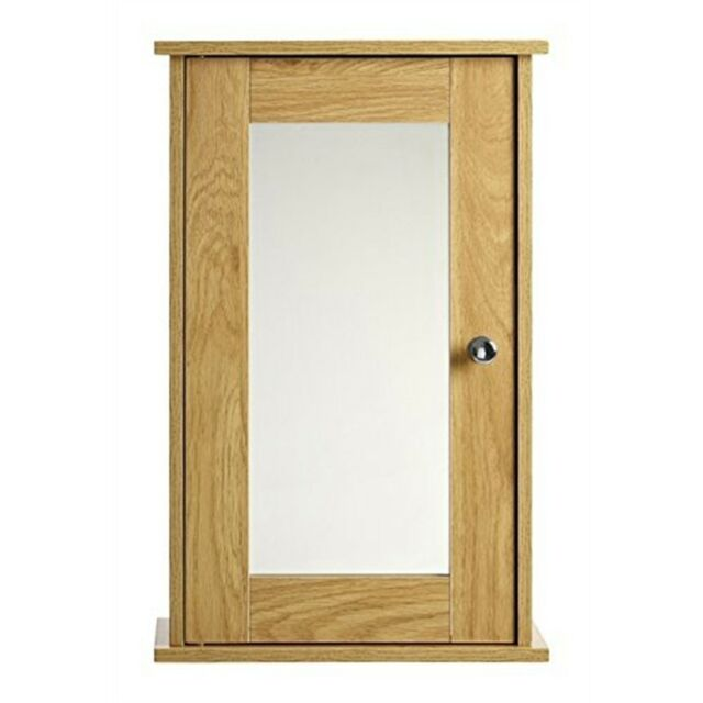 Premier Housewares 34x15x53cm Portland Oak Ven Wall Cabinet Mirr Door Chrm/hndl