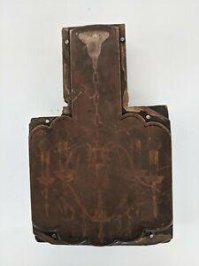 Antique Copper Printing Plate Wood Block Chandelier