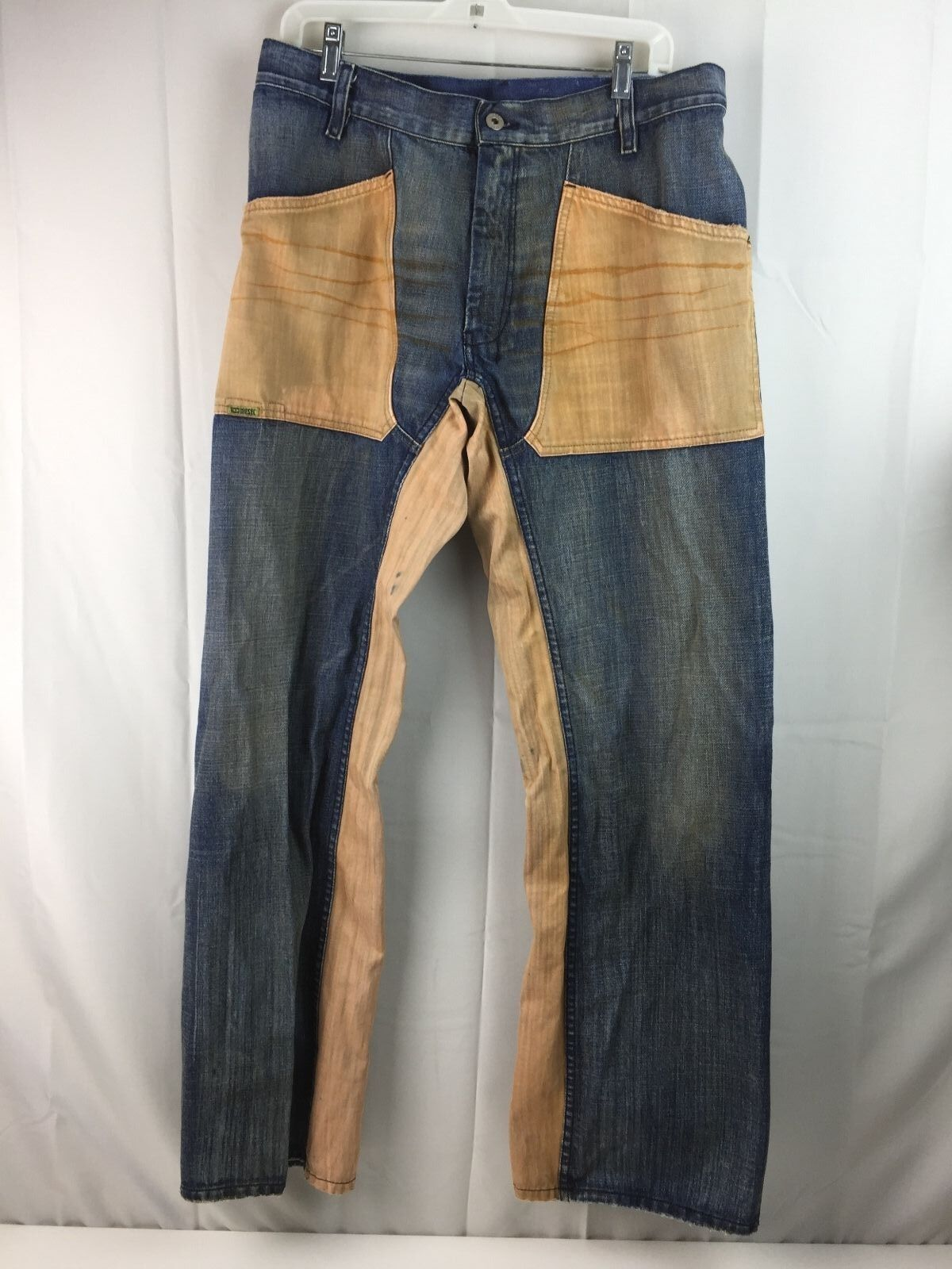 Mens Diesel Jeans Medium Wash Brown bluee Distressed Patched Two Tone 33 34