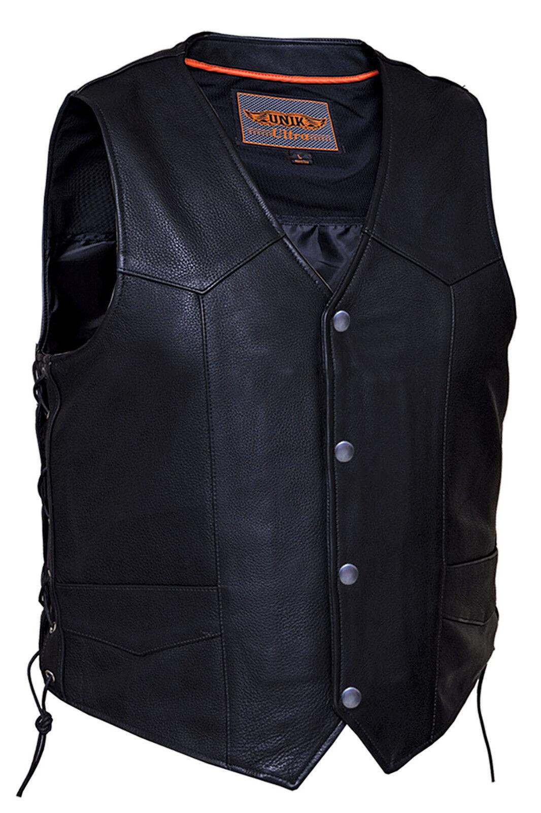 Herren Premium Naked Leder Motorcycle Vest with Side Laces (V331)
