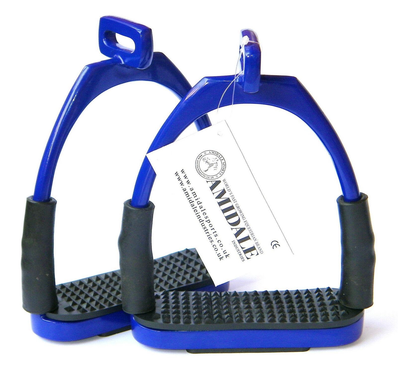 OFFSET EYE FLEXI SAFETY STIRRUPS FOR OPTIMUM LEG POSITION HORSE RIDING IN N.BLU