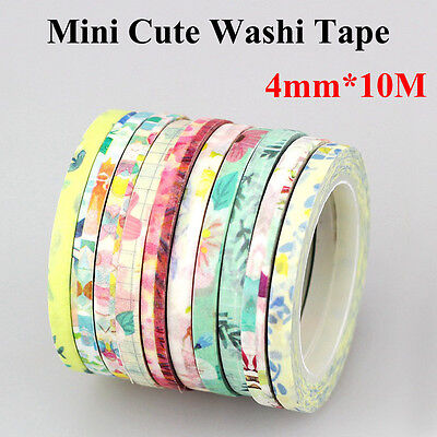 mix 3pcs New Design 4mm×10M DIY Fresh Style Slim Tape DIY Decorative Washi Tape