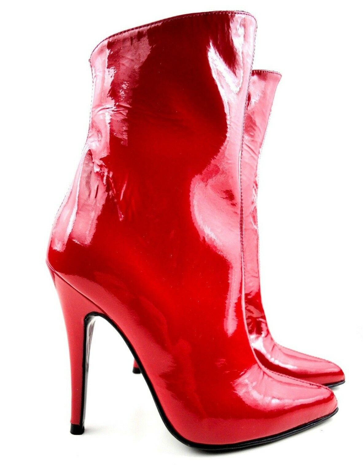 GIOHEL ANKLE CUSTOM BOOTIES BOOTS STIEFEL STIVALI PATENT LEATHER ROSSO RED 40