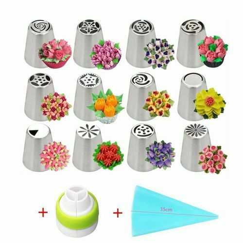 14PCS STAINLESS  RUSSIAN FLOWER CAKE DECORATING NOZZLESTEEL ICING PIPING NOZZLES