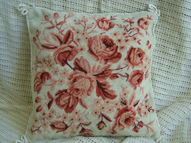 Pastel Handmade Needlepoint Petite Piont Pillow Cushion