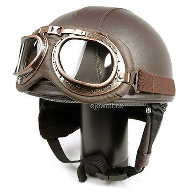 Vintage Motorcycle Motorbike Scooter Half Leather Helmet Brown + Free Goggles*