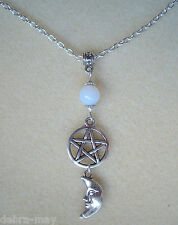 Moonstone Pentagram and Moon Goddess Charm Wicca Pagan Necklace in Gift Bag