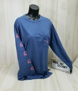 Victoria-039-s-Secret-Pink-Campus-Tee-Blue-Rainbow-Logo-Long-Sleeve-Shirt-Top-New
