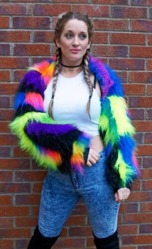 Fluffy Jacket Neon Fur Shrug b Rave Clubwear Faux Color Funki Rainbow Patchwork nZ0qfI