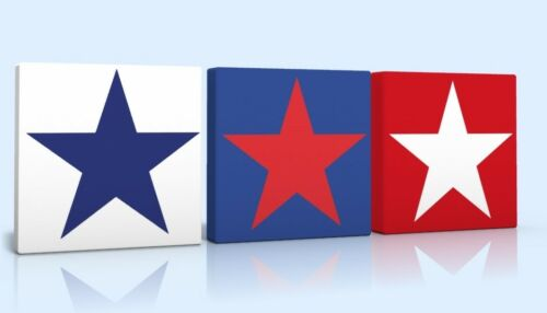 3 X DEEP EDGE CANVAS PICTURES BLUE RED WHITE STAR boys room free p/&p  brenad new