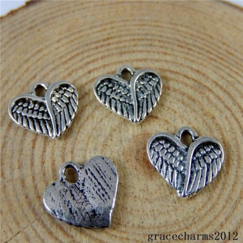 50 pcs Vintage Silver Alloy Heart Shaped Feather Wing Pendant Charm 12x12x1mm