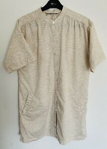 French-Connection-White-Beige-Animal-Print-Cotton-Shirt-Dress-Pockets-Size-L