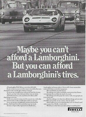 1970 Pirelli Cinturato Lamborghini P400 Miura Tire Original Vintage Print Ad