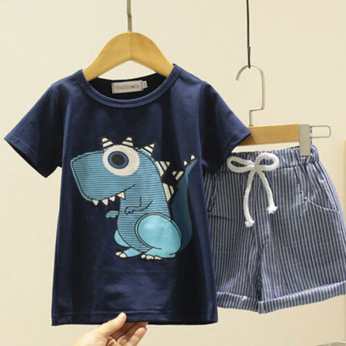 Kids Baby Boys Clothes Short Sleeve Tops Short Pants Summer Outfits Set Age 2-7Y