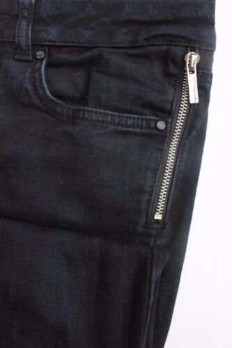 Karen Millen PN002 Blue Zip Biker Skinny Slim Denim Stretch Trouser Jeans 8-10