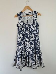 Jenny-May-Cotton-Fit-amp-Flare-Ruffle-Ruched-Blue-amp-White-Dress-Women-039-s-Size-10