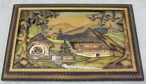 Vintage-Art-Wood-Carving-Diorama-Painting-Wall-Hanging-Decor-Cottage-Water-Wheel