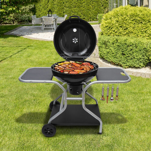 Charcoal Kettle Grill Folding Barbecue Trolley Portable Free Standing Backyard