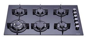 MILLAR-GH9061PB-6-Burner-Built-in-Gas-on-Glass-Hob-90cm-Cast-Iron-Stands-amp-Wok