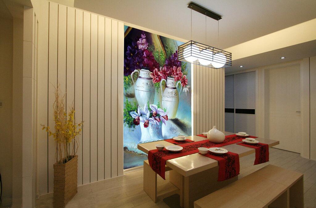 3D Europäische Vase Blaumen 74 Tapete Wandgemälde Tapete Tapeten Bild Familie DE