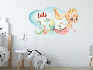 Wandtattoo Name Kinderzimmer Meerjungfrau Fur Madchen Personalisiert Kinder Ebay