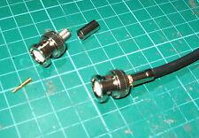 TWO BNC Male Plug Crimp RG58 RG142 RG400 LMR195 RG223 RF HAM RADIO USE HF VHF UH