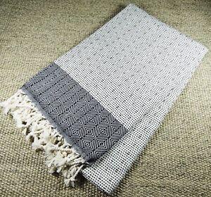Turkish-Hammam-Nefes-Peshtemal-Beach-Towel-Black-amp-White-100x180cm-100-Cotton