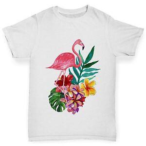 Twisted-Envy-Aquarelle-Flamant-Rose-Fleurs-de-Garcon-Drole-T-Shirt